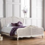 Chic 5' king size cane bed vanilla white mindy ash, painted vanilla finish, hand woven cane