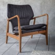 Whitworth Chair Charcoal Leather The beautiful curves and vintage-inspired design of the stunning