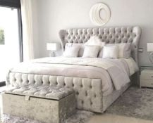 Majestic King Size Sleigh Bed Silver This a stunning addition to the bedroom, this eloquent wingback