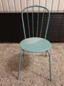 A Set Of 12 X Thonet Style Metal Bistro Chair Painted Blue Finish 42 X 39 X70 Cm (Ex Luxury Show