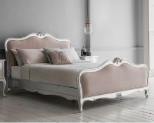 Hudson Chic 6' Superking Linen Upholstered Bed Silver Handcrafted With Exquisite Attention To Detail