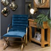 Quinn Accent Chair Navy And Brass Ribbed Ark Chair Combining Sumptuous Velvety Comfort With