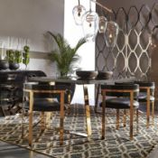 Art Dining Chair - Mirrored Brass / Black Onyx Leather The Art Dining Chair Incorporates Aspects