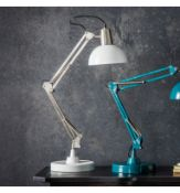 Watson Table Lamp Brushed Nickel and White Stylish table lamp with an industrial style in a nickel
