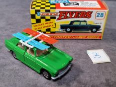 Lonestar Flyers #28 Peugeot 404 Green Beige Interior With Two Sets Skis