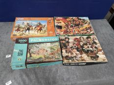 4 x Various Jigsaws Comprising Of 1x Jumbo 1500 Piece 1x Falcon Legends Of The West 1000 Piece Tower