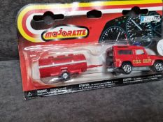 Majorette 300 Series #03830005 Land Rover Fire Truck And Trailer