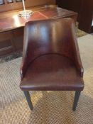 Brava Tub Chair Pattern Leather Studded With Wooden Legs. 55 X 45 X 82cm (Loc 401)