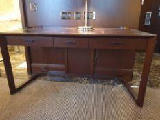 Walnut Veneer Desk By David Salmon Three Drawer With Inlay Leather Top 130 X 60 X 74cm (Loc 401)
