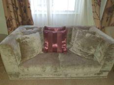 Upholstered Two Seater Velvet Sofa In Silver Silhouette 170 X 90 X 68 ( Loc 401)
