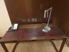 Walnut Veneer Desk By David Salmon Three Drawer With Inlay Leather Top 150 X 60 X 74cm (Loc 405)