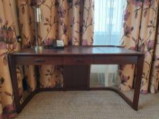 Walnut Veneer Desk By David Salmon Three Drawer With Inlay Leather Top 150 X 60 X 74cm (Loc 404)