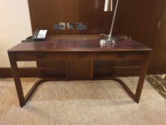 Walnut Veneer Desk By David Salmon Three Drawer With Inlay Leather Top 150 X 60 X 74cm( Loc 406)