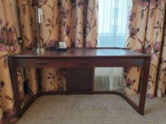 Walnut Veneer Desk By David Salmon Three Drawer With Inlay Leather Top 150 X 60 X 74cm (Loc 417)