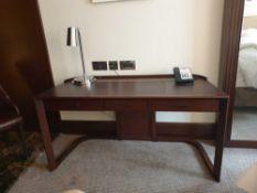 Walnut Veneer Desk By David Salmon Three Drawer With Inlay Leather Top 150 X 60 X 74cm ( Loc 403)