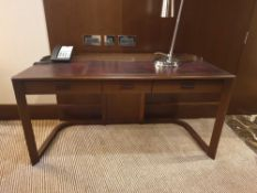 Walnut Veneer Desk By David Salmon Three Drawer With Inlay Leather Top 150 X 60 X 74cm (Loc 412)