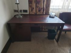Walnut Veneer Desk By David Salmon Three Drawer And Cupboard Fitted With Dometic Minibar Hipro