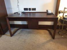 Walnut Veneer Desk By David Salmon Three Drawer With Inlay Leather Top 130 X 60 X 74cm (Loc 402)