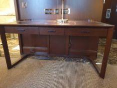 Walnut Veneer Desk By David Salmon Three Drawer With Inlay Leather Top 130 X 60 X 74cm