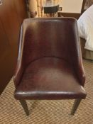 Brava Tub Chair Pattern Leather Studded With Wooden Legs. 55 X 45 X 82cm (Loc 406)