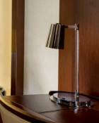 Stolna 400/1 Brushed Nickel Table Lamp With Cone Shade And Embossed Rope Detail To Arm A Stylish