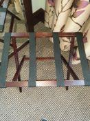 Luxury Wooden Luggage Rack Mahogany Folds Flat For Easy Storage Holds Up To 50kg Nylon Straps 42 x