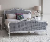 Hudson Cane 6' Superking Size Cane Bed Silver White Mindy Ash, Painted Silver Highlight Finish, Hand