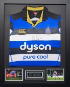 Rhys Priestland Signed And Framed Bath Rugby Shirt Supplied with Certificate Of Authenticity