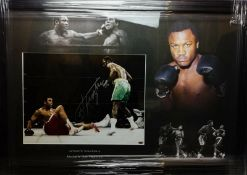 Joe Frazier Signed And Framed Boxing Display Supplied with Certificate Of Authenticity
