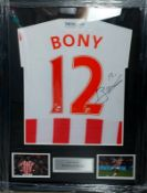 Wilfred Bony Signed And Framed Stoke City Shirt Supplied with Certificate Of Authenticity