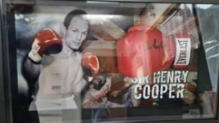 Sir Henry Cooper Signed And Framed Boxing Glove Supplied with Certificate Of Authenticity