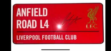Trent Aalexander Arnold Signed Anfield Road Street Sign Supplied with Certificate Of Authenticity