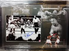 Larry Holmes Signed And Framed Boxing Display Supplied with Certificate Of Authenticity