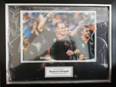 Francois Pienaar Signed And Framed South Africa Rugby Display Supplied with Certificate Of