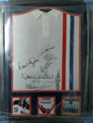 Framed Escape To Victory Movie Official Retro Shirt Signed By 7 With Supplied with Certificate Of