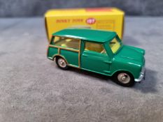Atlas Dinky #197 Morris Mini Traveller In Green With Yellow Interior In Box