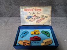 Dinky Gift Set 3 Passenger Car Set Contains No.27F Estate Car - Two Tone Brown Body, Beige Ridged