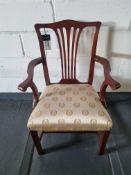 Arthur Brett Georgian-Style Mahogany Sunbury Park Dining Arm Chair With Bespoke Cream/Gold