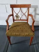 Arthur Brett Armchair Bespoke Sage/Gold Upholstery Sheraton-Style Cherrywood Armchair With Tulip-