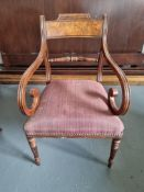 Arthur Brett Mahogany Dining Arm Chair With Spindle Detail To Back And Carved Tapered Front Legs