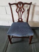 Arthur Brett Georgian-Style Dining Side Chair With Bespoke Blue Upholstery Beautifully