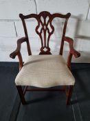 Arthur Brett Georgian-Style Dining Arm Chair With Bespoke Cream Upholstered Seat Beautifully