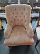 Arthur Brett Ickworth Library Arm Chair Bespoke Beige Upholstery on brass castors Height 96.5cm