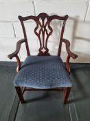Arthur Brett Georgian-Style Dining Arm Chair With Bespoke Blue Upholstered Beautifully