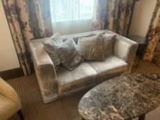 A plush two seater silver silouhette cruhed velvet cube sofa with loose cushions 170 x 92 x 69cm