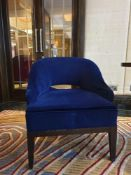 A Pair Of Blue Velvet Chairs Bespoke Fox Linton Contemporary Style With Walnut Stain Base 68x 60x