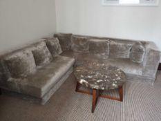 Velvet Upholstered L Shape Sofa Velvet Silver Siloutte 201 X 69