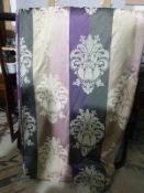 A pair of drapes pink grey cream motif each panel 144 x 268cm