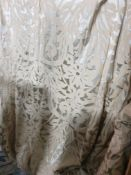 .A pair of silk drapes beige and silver each panel 120 x 234cm