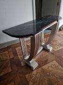 Marble top art deco sttyle consile table the wooden frame painted silver 127 x 47 x 89cm